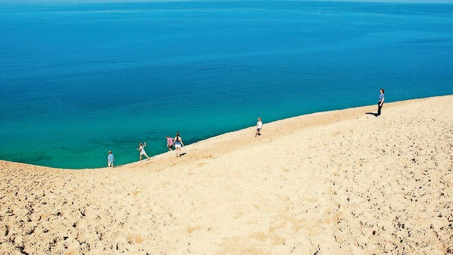 Towering sand dunes at Sleeping Bear Dunes National Lakeshore.