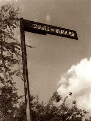 The Shades of Death road sign.