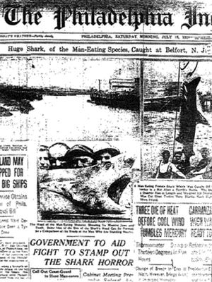 Philadelphia Inquirer's report of a shark's capture.