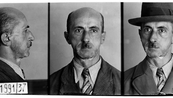 German police file photo of a man arrested in October 1937 for suspicion of violating Paragraph 175 which criminalized homosexual conduct. From US Holocaust Memorial Museum, courtesy of Landesarchiv, Berlin.