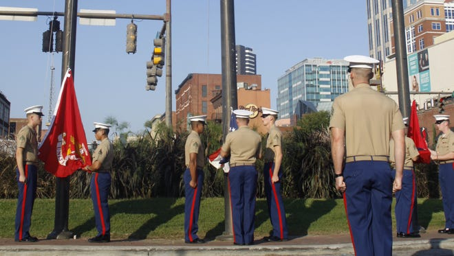 U.S. Marine Corps present the colors Wednesday, Sept. 7, 2016 in downtown Nashville.