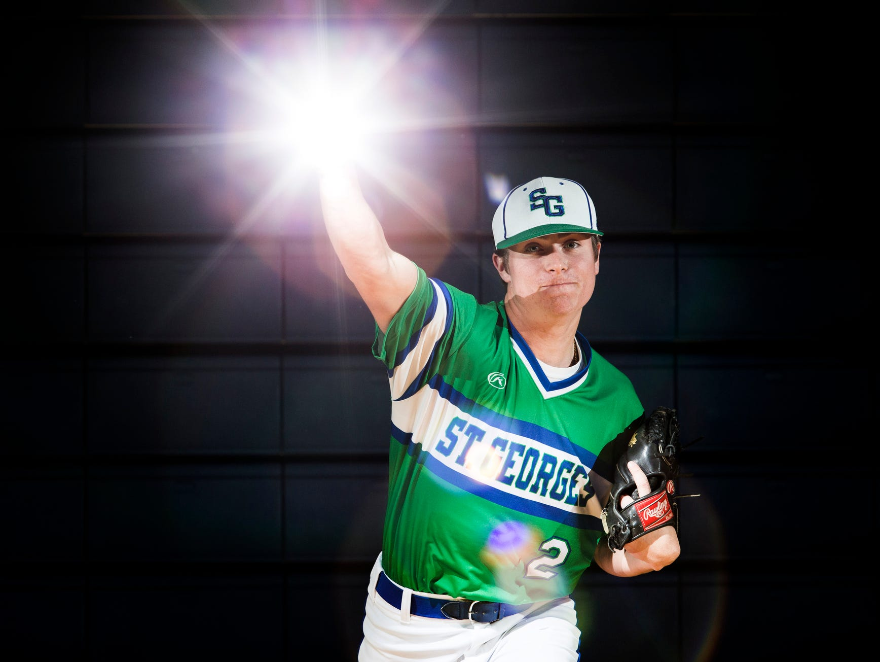 St. Georges pitcher Tyler Campbell poses for a portrait at St. Georges High School on Monday afternoon.