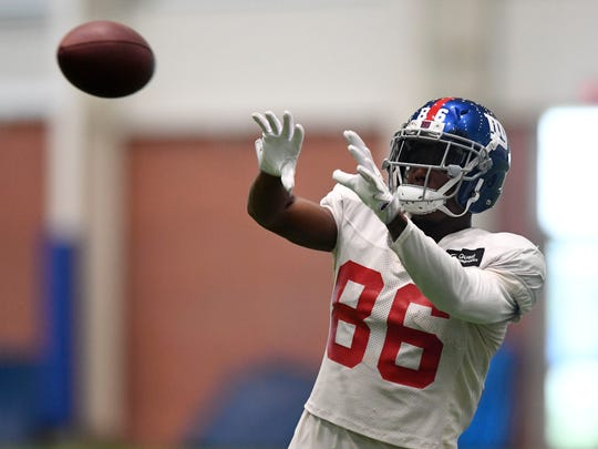 New York Giants wide receiver Darius Powe makes a catch during Giants practice at the Quest Training Center on Monday, Augusts 7, 2017.