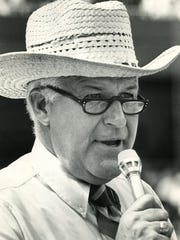 Tom Kinder, the Bengals first public address announcer. Enquirer file photo from November 1977.
