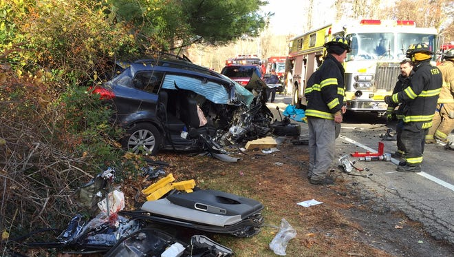 Emergency responders are on the scene of a fatal two-car accident on Route 22 in Southeast, Nov. 14, 2014.
