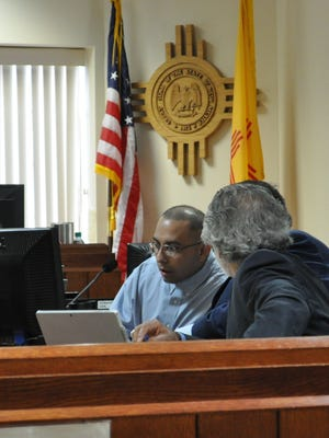 Gregory Valenzuela appears for the second day of jury trial Wednesday, April 25, 2018. Valenzuela is charged with first degree murder and two counts of tampering with evidence in the death of Adrian Acosta in Artesia in May 2016.
