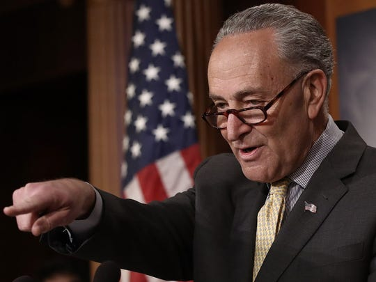 Senate Democratic Leader Charles Schumer answers questions