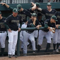 Jake Boss, third from left, and the MSU baseball team dropped two of three games to Nebraska, including a 7-4 loss Monday at McLane Stadium.
