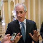 Sen. Bob Corker, R-Tenn., speaks with reporters at the Capitol in Washington on Wednesday, Jan. 27, 2016.