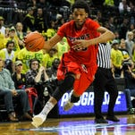 Paris Bass advances the ball during the University of Detroit's game against Oregon earlier this season.
