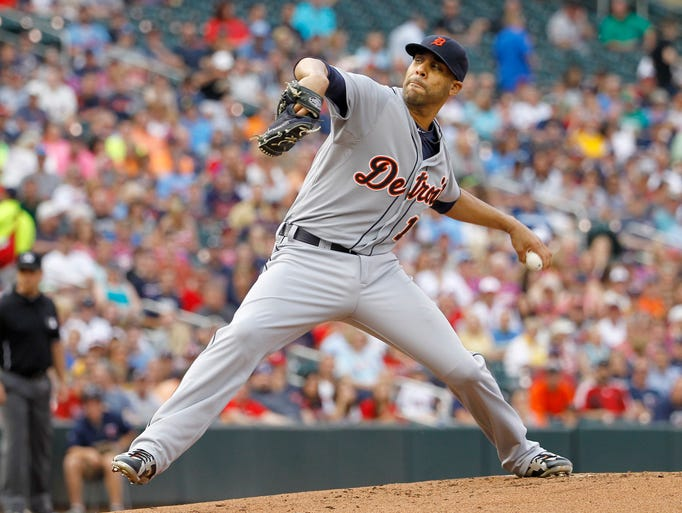 Detroit Tigers starting pitcher David Price delivers