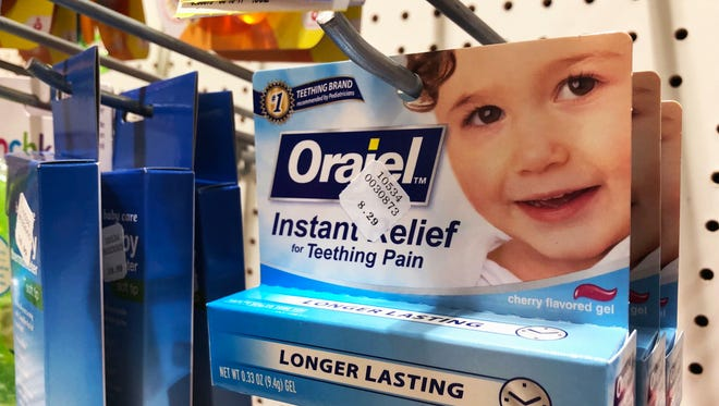 Orajel is displayed for sale in a pharmacy in New York Wednesday, May 23, 2018. The US Food and Drug Administration is warning parents about potentially deadly risks of teething remedies that contain a numbing ingredient used in popular brands like Orajel. The agency on Wednesday said it wants manufacturers to stop selling products intended for babies and toddlers because the products contain a drug ingredient that can cause a rare but dangerous blood condition that interferes with normal breathing.