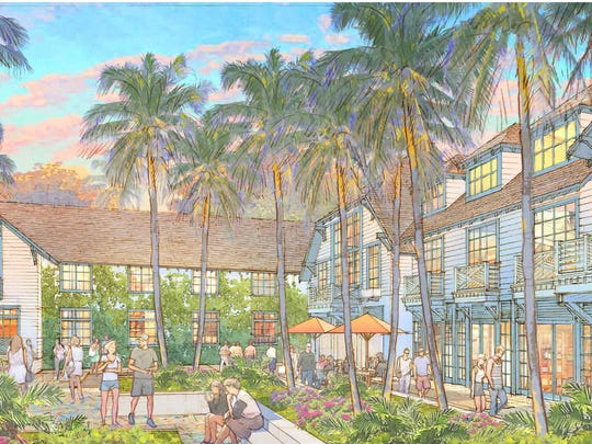 A building rendering shows the proposed courtyard of a 118-room hotel and retail project along Third Street South in downtown Naples.