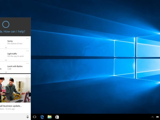 This screen shot provided by Microsoft shows Cortana, Microsoft's voice-activated digital assistant, left, in Windows 10. Microsoft's new Windows 10 system offers more personalization than before, but it also collects more data than people might be used to on PCs, from contacts and appointments to their physical location and even Wi-Fi passwords.