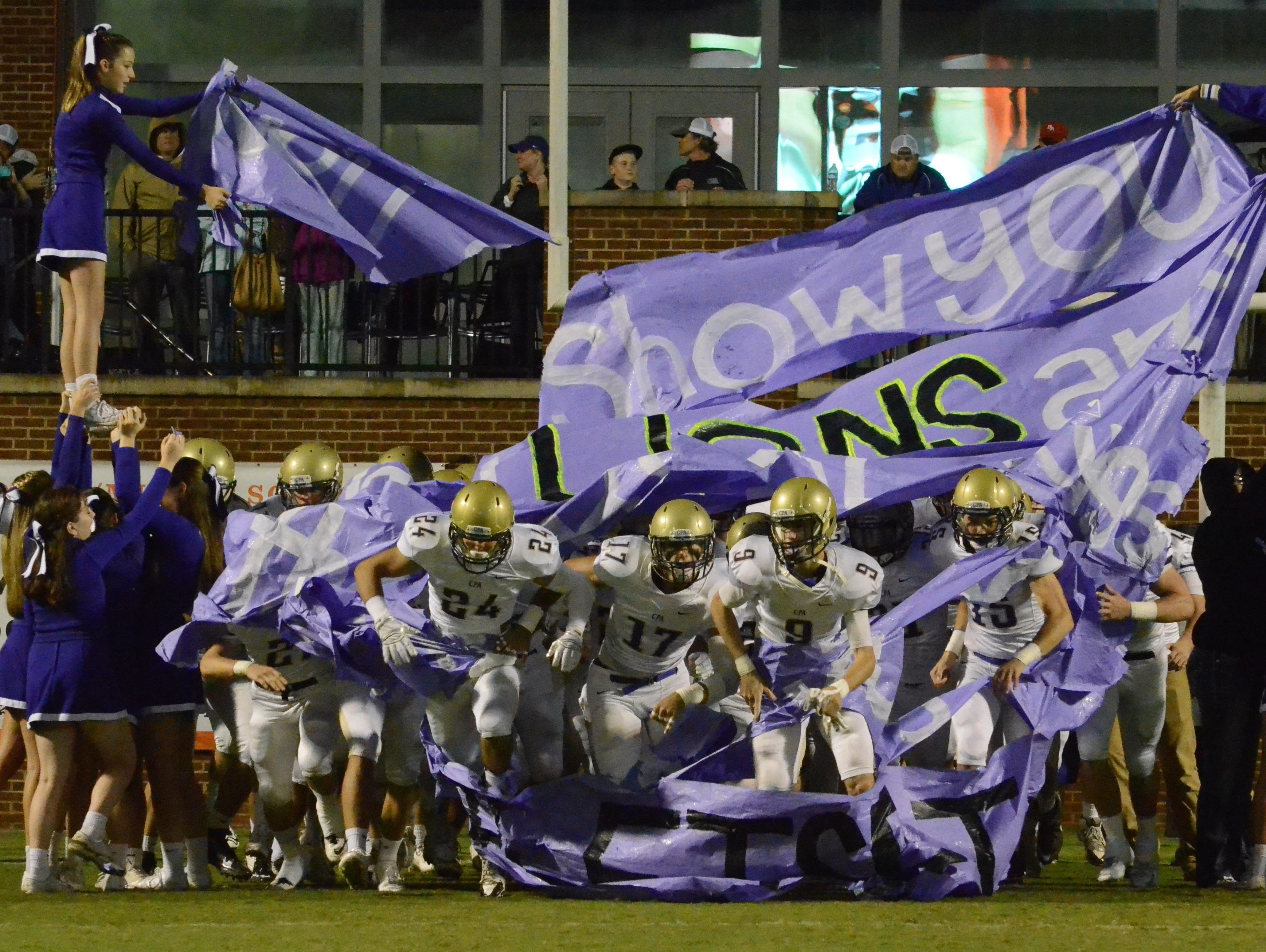 The Lions take the field prior to Friday's game at Ensworth.
