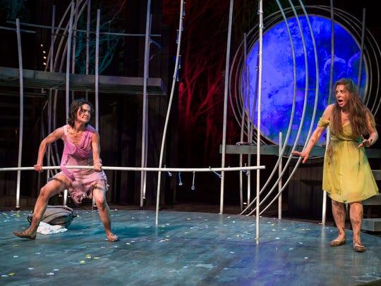 "Melisa Pereyra (left) accosts Elizabeth Reese in ""A"