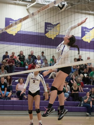 Unioto's Jocie Fisher spikes a ball during an earlier season contest at Unioto High School. The Shermans beat Adena Thursday night in four sets.