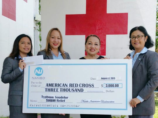 Nanbo Insurance presented a check of $3,000 on Aug. 18 to the American Red Cross for Typhoon Soudelor relief efforts in Saipan. Pictured, from left are: Anne Takano, underwriting manager, Nanbo Insurance; Aggie J. Suk, customer service representative supervisor, Nanbo Insurance; Chita Blaise, chief executive officer, Guam Chapter of the American Red Cross; and Nancy Reyes, account executive, Nanbo Insurance.
