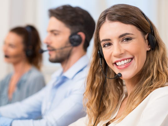 A woman at a call center