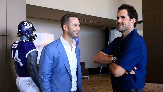 Jul 20, 2015; Dallas, TX, USA; Texas Tech Red Raiders head coach Kliff Kingsbury speaks to Fox sports analyst Matt Leinart during the Big 12 Media Days at Omni Dallas. Mandatory Credit: Kevin Jairaj-USA TODAY Sports