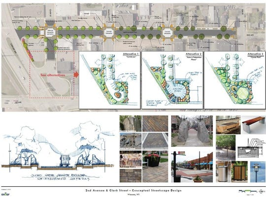 Architectural renderings of Second Avenue and Clark Street reconstruction and streetscaping.