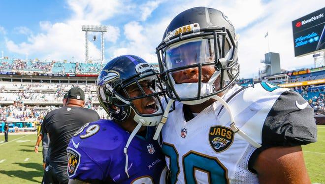 Sep 25, 2016; Jacksonville, FL, USA;  Baltimore Ravens wide receiver Steve Smith (89) yells at Jacksonville Jaguars cornerback Jalen Ramsey (20) after a game at EverBank Field. Baltimore Ravens won 19-17. Mandatory Credit: Logan Bowles-USA TODAY Sports ORG XMIT: USATSI-268298 ORIG FILE ID:  20160925_kek_ba2_217.jpg
