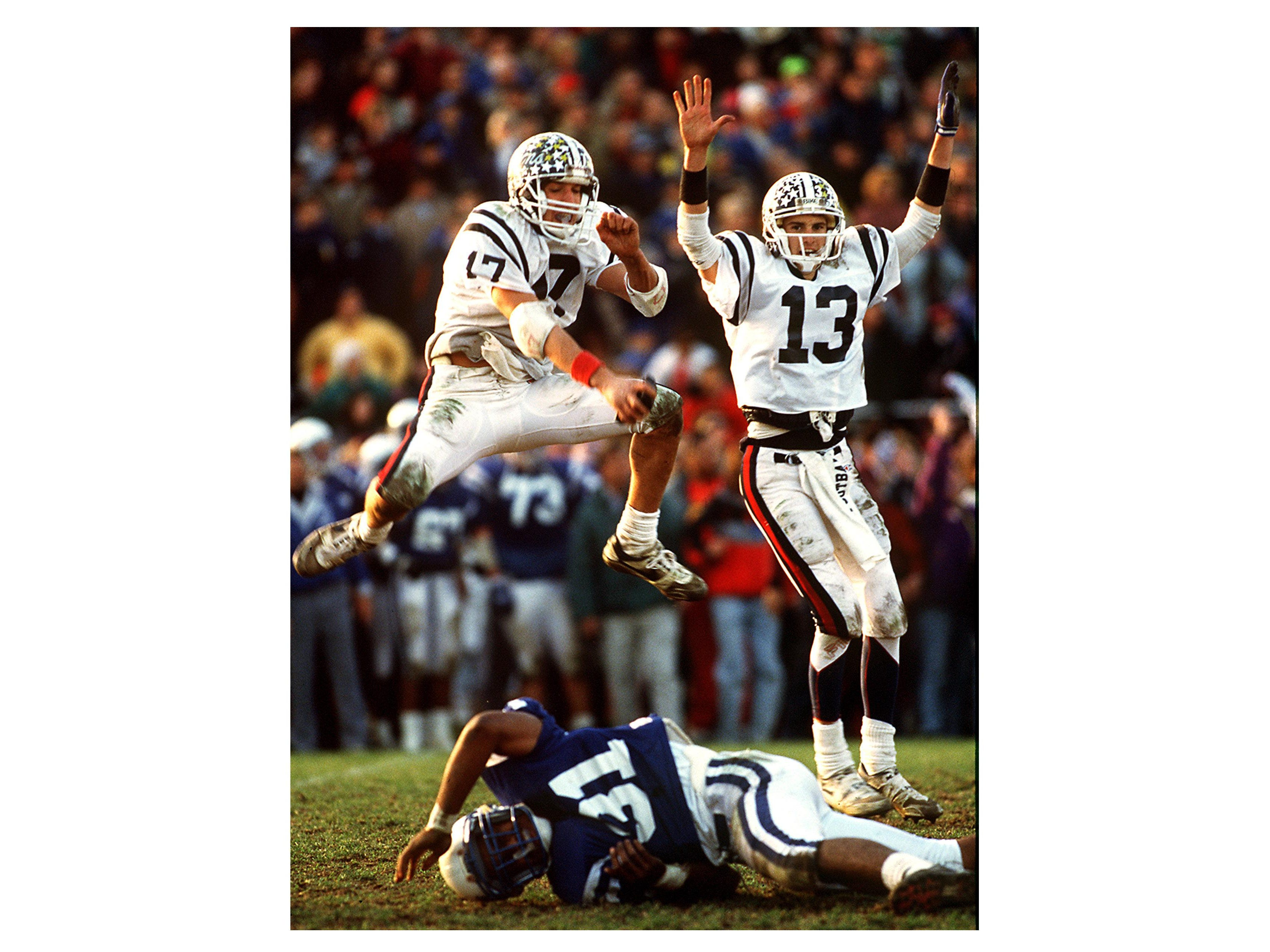 1) Montclair, NJ, December 1990--The favorite image of my career was being witness to a 'miracle' whose legend has only grown over the past 24 years. In what been known as 'The greatest high school game ever played' Holder Eric Schaeb, l, and Mike Groh celebrate as Groh's 37 yrd FG with 0:01 second left in the game, clears the uprights at Woodman Field in Montclair. Randolph beat heavily favored Montclair 22-21 to capture the 1990 Group 4 Sec 2 State Championship. Photo by Bob Karp