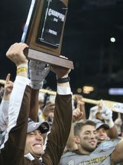 Western Michigan coach P.J. Fleck celebrates after WMU's 29-23 win over Ohio in the MAC title game Friday at Ford Field.