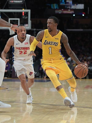 Former Pistons guard Kentavious Caldwell-Pope scored 13 points for the Lakers on Tuesday night in Los Angeles.