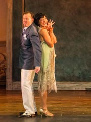 "Drew Humphrey and Erica Stephan as Robert and Janet, the couple kept apart on their wedding day, in a scene from Peninsula Players' production of ""The Drowsy Chaperone."""