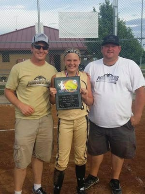 "Jarin ""Bear"" Gerst (right) who coached Hailey Sanders (center) and fellow coach Luke Sanders with the Monsters travel softball team. Gerst died suddenly on July 7, leaving a huge void in the Louisa-Muscatine High School softball team's heart."