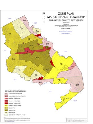 Maple Shade zoning map.