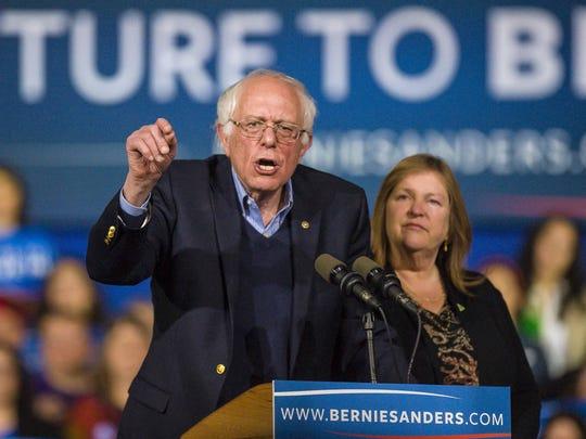 Sen. Bernie Sanders, I-Vt., speaks in Essex Junction