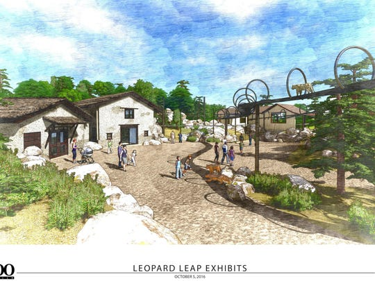 A rendering of the new Leopard Leap exhibit at the Louisville Zoo.  Thanks to a $1 million gift from the John H. Schnatter Family Foundation, the zoo's Leadership Campaign exceeded it's goal of $10.4 million for a final raised amount of $11.44 million.  The plaza around the exhibit will be named for the Schnatter Family Foundation.