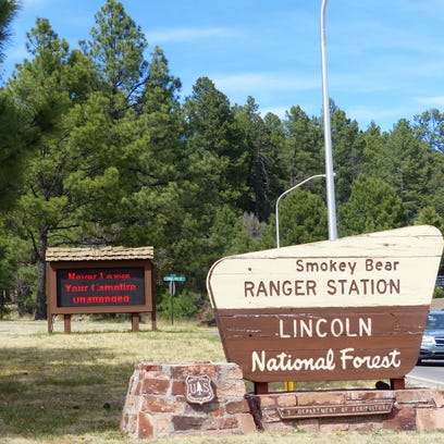 Lincoln National Forest sign on Mechem Drive in Ruidoso.