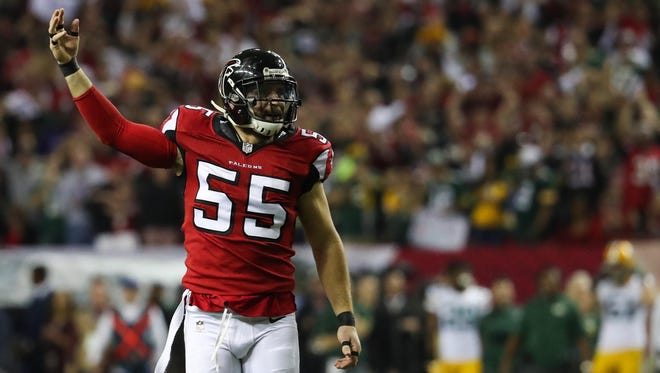 Atlanta Falcons linebacker Paul Worrilow reacts after a play against the Green Bay Packers on Jan. 22, 2017.