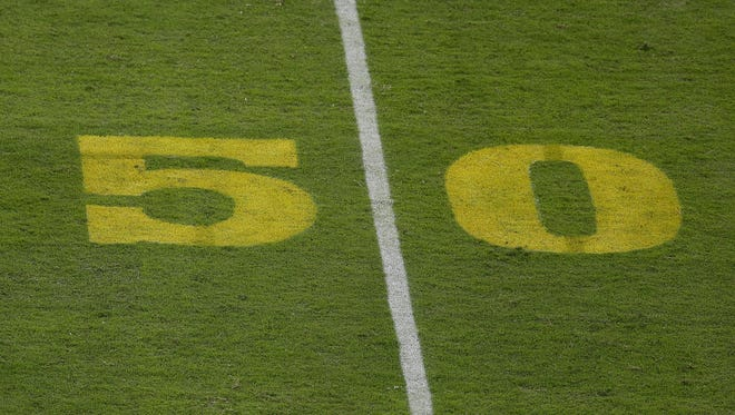 The Oakland Raiders don't want to paint a gold 50-yard marker to mark the Super Bowl's 50th anniversary.
