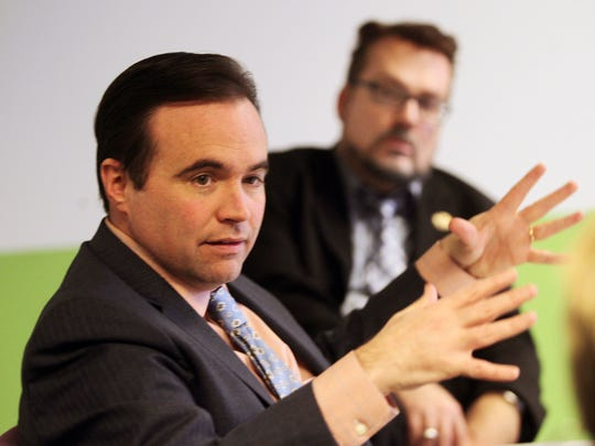 Kevin Osborne with Mayor John Cranley during a meeting with the Enquirer editorial board. The Enquirer/Patrick Reddy