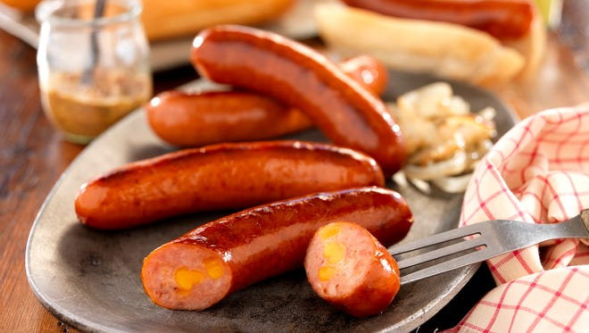 Nueske's newest addition to its lineup is the Applewood smoked cheddar and jalapeno bratwurst.