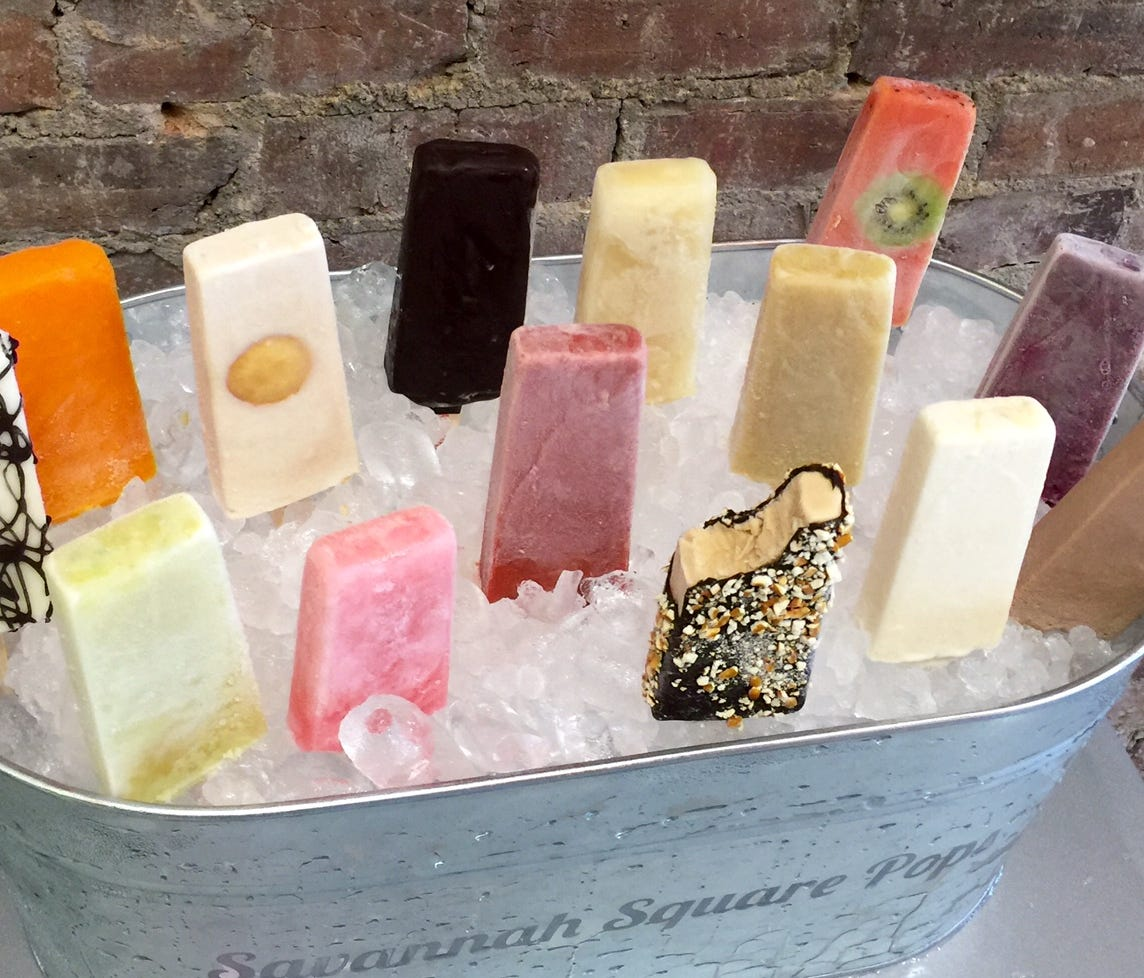 Savannah Square Pops in Georgia serves hand-made frozen pops, including the Pulaski, a salted-caramel pop dipped in dark chocolate and rolled in pretzel pieces.