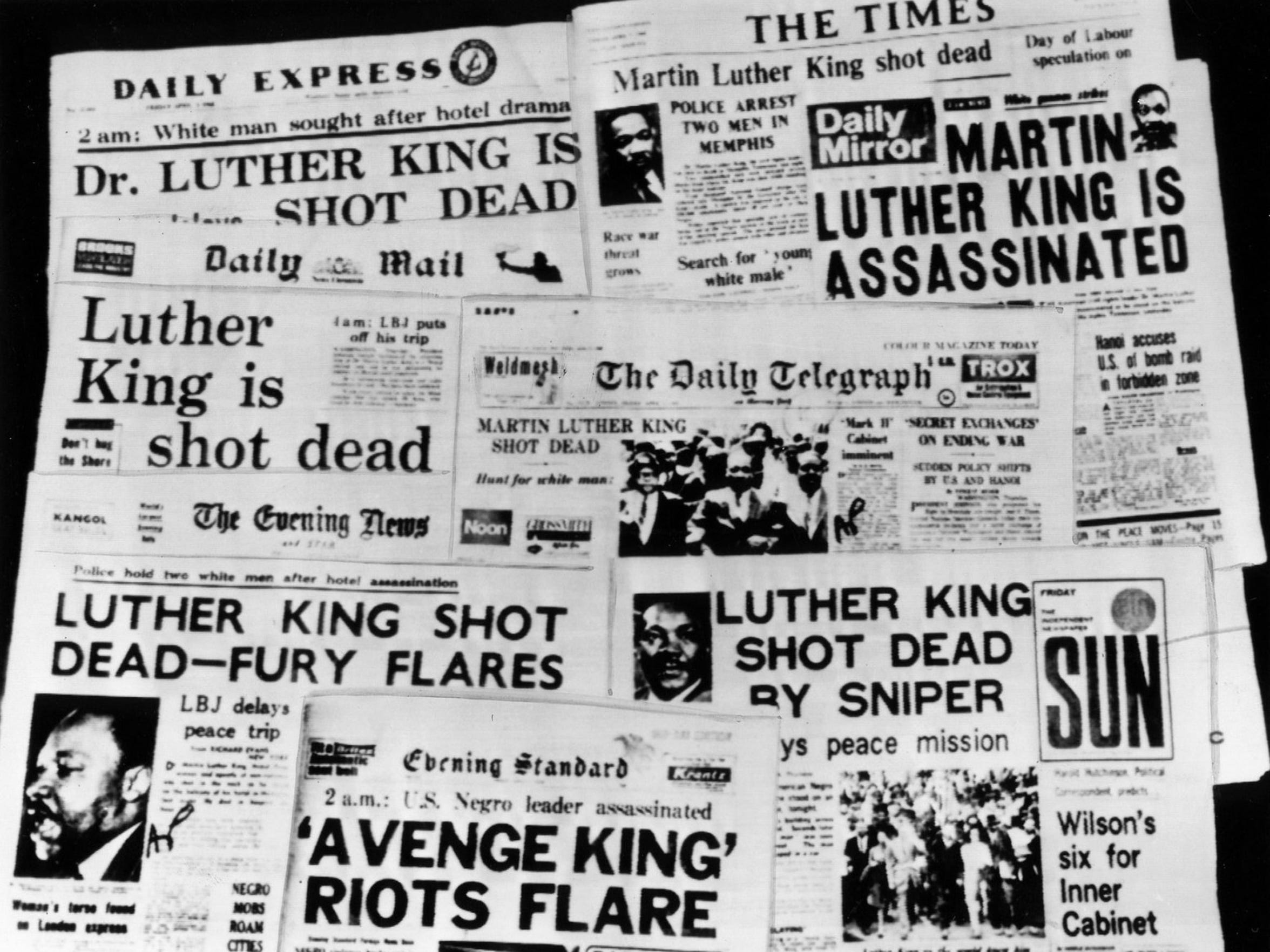 King's assassination was international news. Here, London newspaper headlines about his death. April 7, 1968.