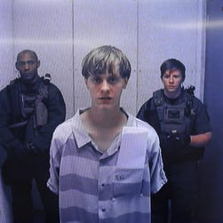 Image from police video shows the arrest of Dylann Roof in Shelby, N.C., on June 18.
