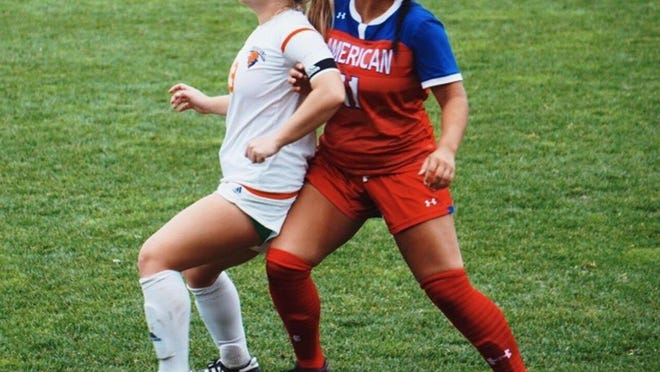 Bucknell soccer player Brianna Kropinack (left), a former Swansboro High standout, wrote a letter to the NCAA and has taken to social media, questioning the organization and how it has handled sports during the COVID-19 pandemic.