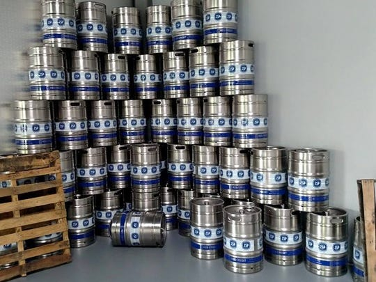 Kegs stacked at the new 2SP Brewing Company in Aston,