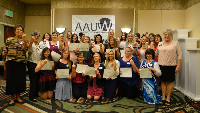 The St. George chapter of the American Association of University Women celebrate its 34 scholarship recipients. Members of the association sought female students who were pursuing degrees in the STEM field.