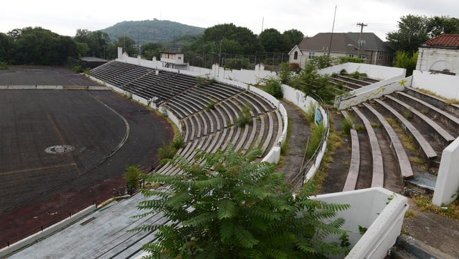 Hinchliffe Stadium in 2015. Paterson hopes to attract investors to fund larger renovations at the historic site.