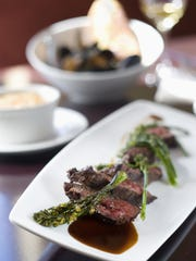 Hanger steak with broccolini and scalloped potatoes at Cafe Bink in Carefree.