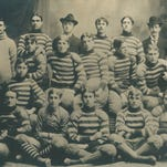 The York YMCA fielded a post-collegiate amateur football team from 1894 to 1898, and the team went undefeated to win the league championship in 1897. The team members were, front row: Samuel McCall (QB, Yale Law), John Reynolds (E), Jerry Jacobs (RE), Paul Senft (HB) and Paul Kable (LE); middle row: John Dunn (E), Jim Chalfant (LHB), Howard Manifold (FB, Yale Law), Harry Hockman (C, captain, Dickinson), Edward Leber (RHB, MIT), George Small (RT), Art Jones (QB) and Will Hoffman (YMCA physical director); and back row: Horace Crider (LT), Jacob Geubtner (LG), James St. Clair McCall (coach, Yale), Rob McKinnon (RG), John Peters (C) and Houston Landis (manager).