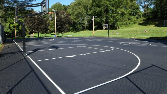 Resurfacing of two basketball courts has been completed at South Sippo Park, shown, and Franklin Park. Massillon Parks and Recreation is in the process of resurfacing basketball courts at two Wampler Park and Kiwanis Park. Officials hope to rehab the six remaining courts at city parks next year.