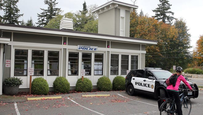 The Bainbridge Island Police Department building on Highway 305 near the ferry terminal. A consultant identified the location as one of three top choices for a new facility to house the police department and municipal court.